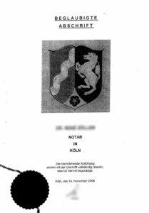 Titelblatt einer Teilungserklärung vom Notar